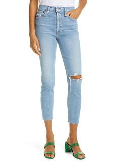 Re/Done Originals High Waist Ankle Jeans (Worn Indigo)
