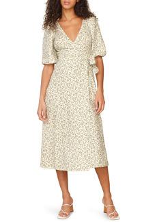 Reformation Mint Linen Midi Wrap Dress
