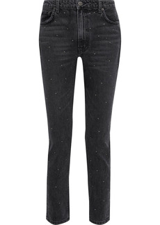 Reformation Woman Harley Studded Distressed High-rise Slim-leg Jeans Black