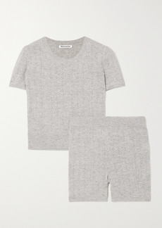 Reformation Net Sustain Villa Recycled Cashmere-blend T-shirt And Shorts Set