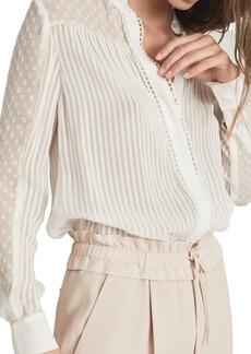 Reiss Cora Mixed Texture Button-Up Blouse