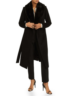 Reiss Pacey Wrap Coat with Faux Fur Collar