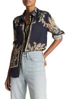 Reiss Tiff Border Print Button-Up Blouse
