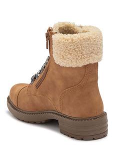 Report Faux Shearling Block Heel Combat Boot
