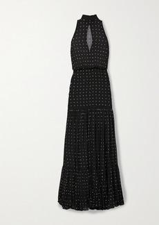 Retrofête Abby Embellished Shirred Silk-crepon Halterneck Maxi Dress