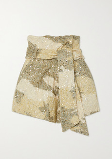 Retrofête Jo Belted Sequined Camouflage-print Cotton Shorts