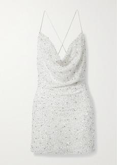 Retrofête Mich Draped Embellished Tulle Mini Dress