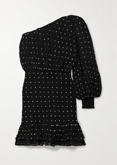 Retrofête Parker One-sleeve Embellished Shirred Silk-crepon Mini Dress