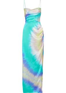 Retrofête Woman Marlene Tie-dyed Silk-blend Satin Maxi Dress Multicolor