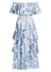 Rhode Ash Off-The-Shoulder Printed Midi Dress