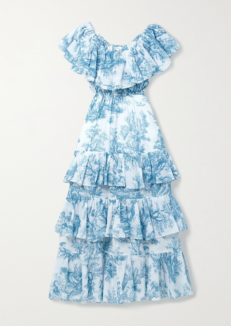 Rhode Ash Ruffled Tiered Printed Cotton-voile Midi Dress