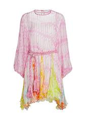 Rhode Ella Belted Crinkle Chiffon Dress