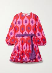 Rhode Ella Belted Floral-print Cotton-voile Mini Dress