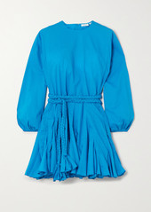 Rhode Ella Belted Pleated Cotton Mini Dress