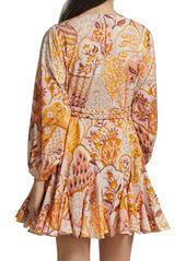 Rhode Ella Patchwork Floral Puff-Sleeve A-Line Dress