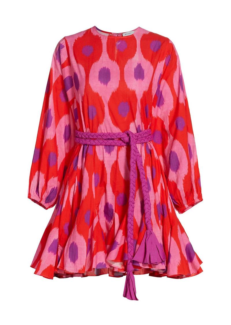Rhode Ella Puff-Sleeve Flutter Mini Dress