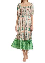 Rhode Eloise Floral Puff-Sleeve Flounce Dress
