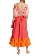Rhode Eloise Puff Sleeve Colorblocked Midi Dress