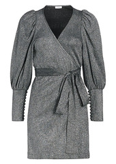 Rhode Frankie Puff-Sleeve Metallic-Knit Wrap Dress