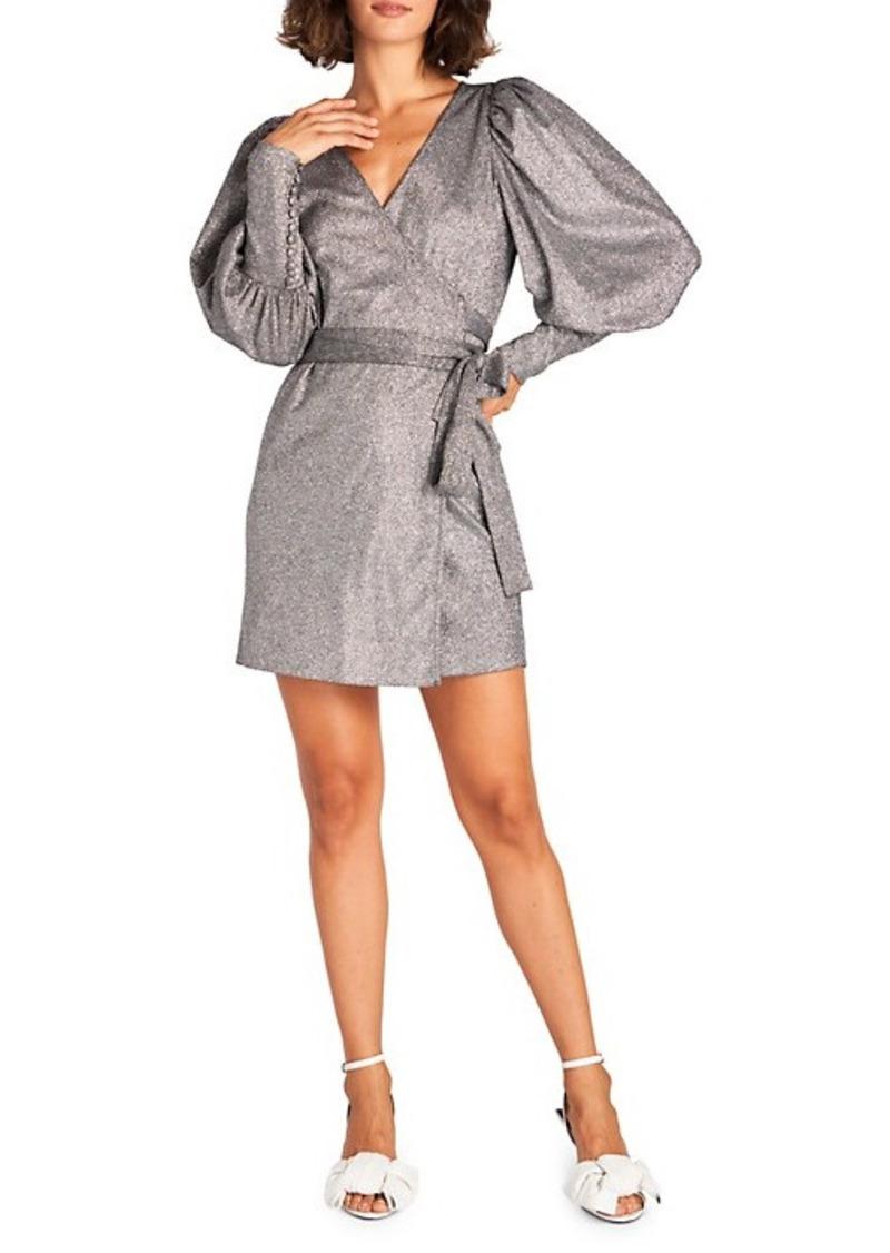 Rhode Metallic Glitter Mini Wrap Dress