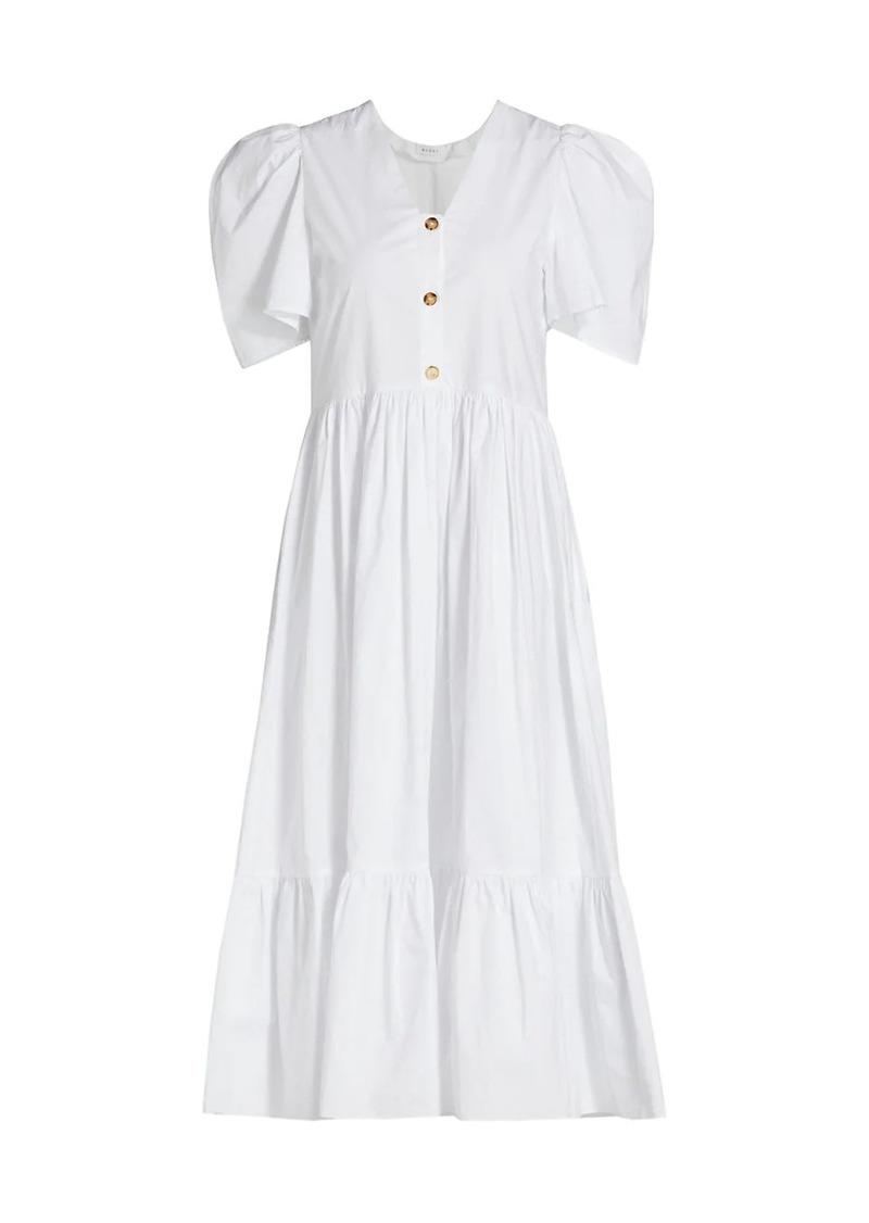 Rhode Nisha Puff-Sleeve Poplin Midi Dress