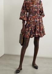 Rhode Olivia Belted Printed Tencel-twill Mini Dress