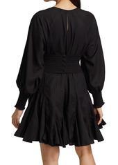 Rhode Olivia Blouson-Sleeve Dress
