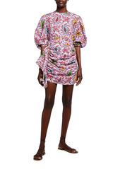 Rhode Pia Draped Blouson-Sleeve Dress