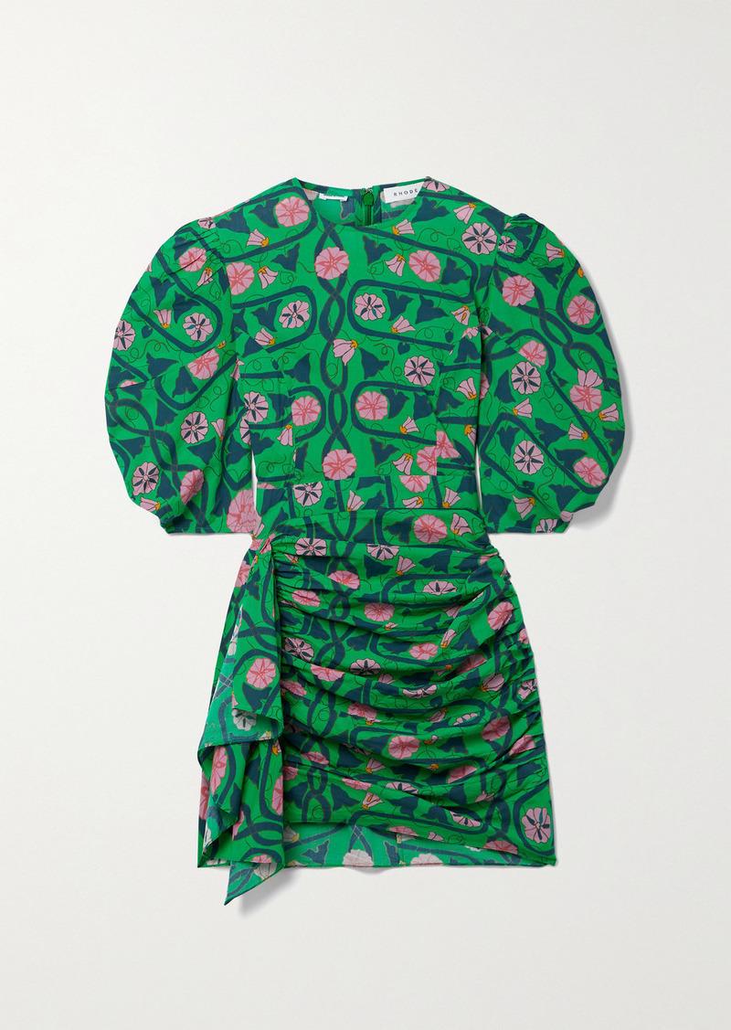 Rhode Pia Draped Floral-print Cotton-voile Mini Dress