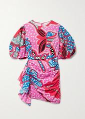 Rhode Pia Draped Printed Cotton Mini Dress