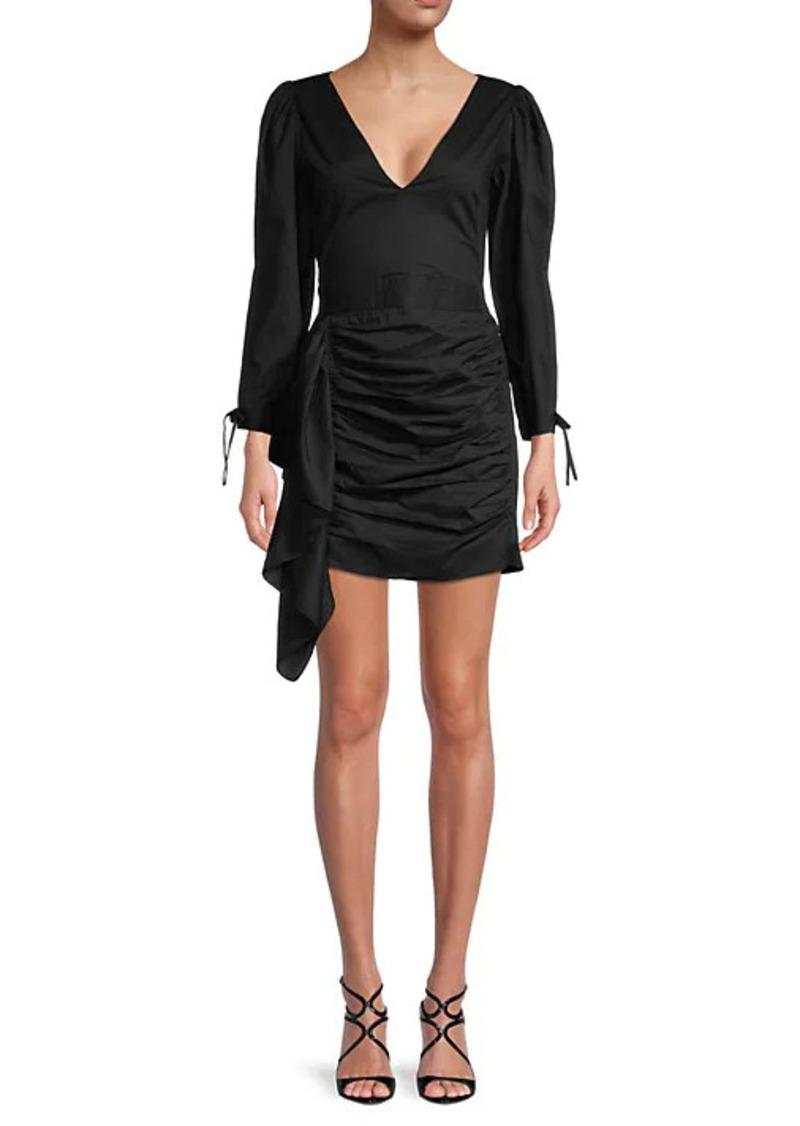 Rhode Piper Draped Puff-Shoulder Dress