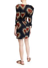 Rhode Piper Gathered Heart-Print Dress
