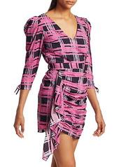 Rhode Piper Plaid Puff Shoulder Mini Dress