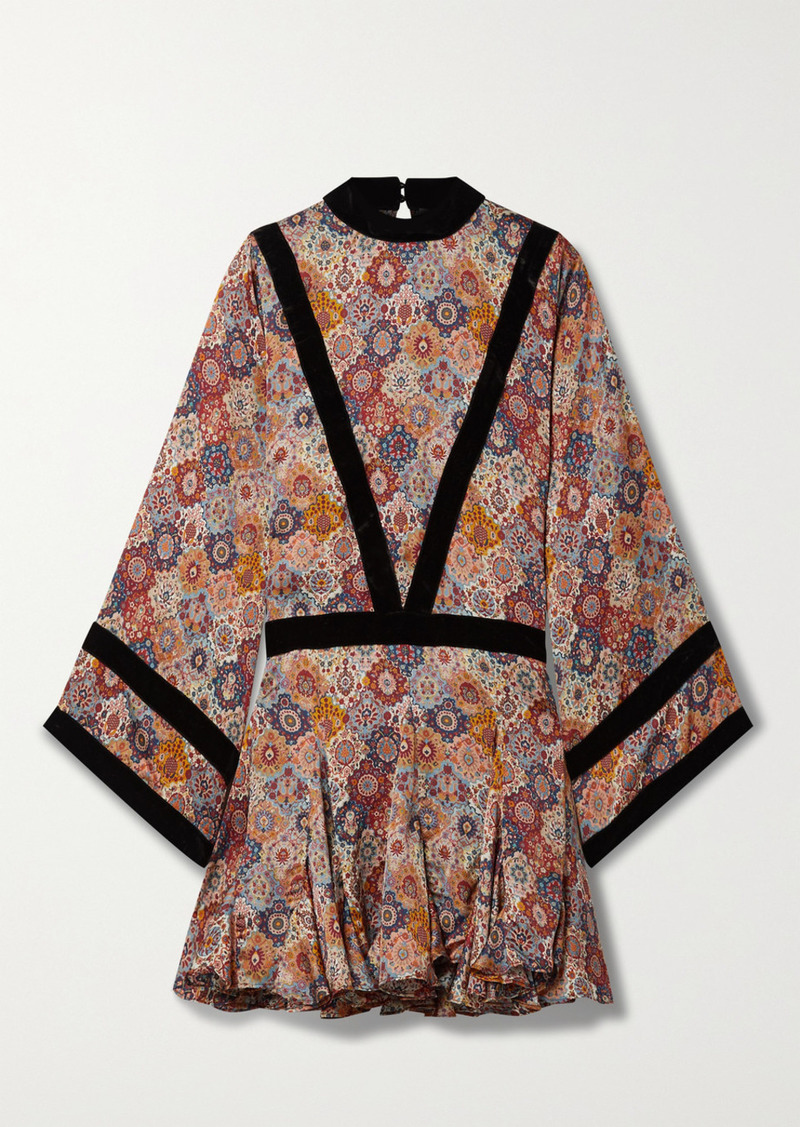 Rhode Rhea Velvet-trimmed Floral-print Satin Mini Dress