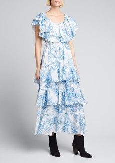 Rhode Ash Toile-Print Off-Shoulder Ruffle Dress