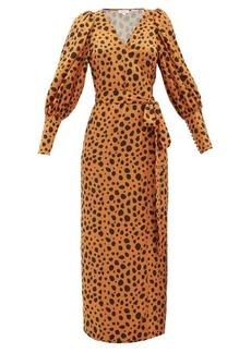 RHODE Aspen cheetah-print satin wrap dress