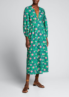 Rhode Camilla Floral V-Neck Midi Dress