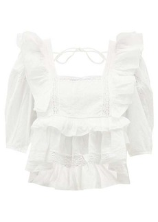 RHODE Charlotte lace and ruffle-trimmed cotton blouse