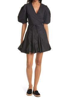 RHODE Claudine Puff Sleeve Wrap Dress