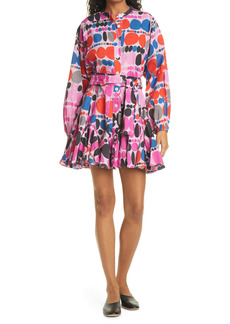 RHODE Emma Print Long Sleeve Cotton Shirtdress