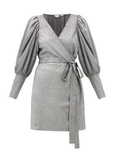 RHODE Frankie puff-shoulder metallic-jersey wrap dress