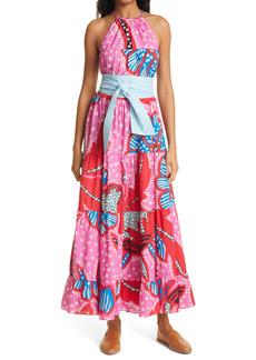 RHODE Julia Print Halter Neck Cotton Maxi Dress