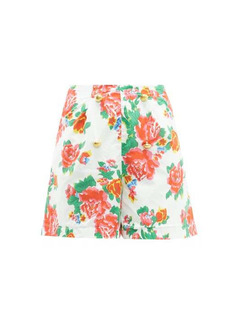 RHODE Reese high-rise floral-print cotton-voile shorts