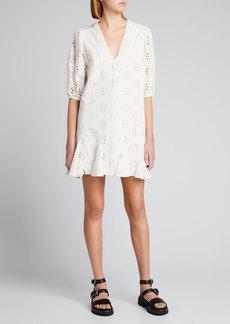 Rhode Sara Eyelet Mini Godet Dress