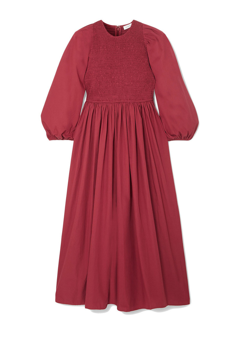 Rhode Woman Andrea Shirred Cotton-poplin Midi Dress Claret