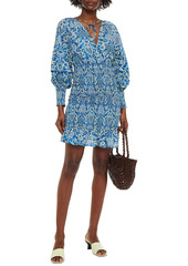 Rhode Woman Anya Shirred Floral-print Cotton Mini Dress Cobalt Blue