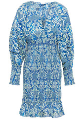 Rhode Woman Anya Shirred Floral-print Cotton Mini Dress Cobalt Blue
