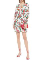 Rhode Woman Anya Shirred Floral-print Cotton Mini Dress White