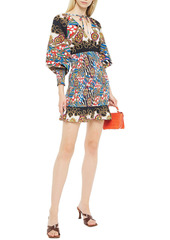 Rhode Woman Anya Shirred Printed Cotton-poplin Mini Dress Sand