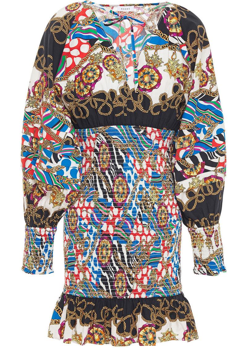 Rhode Woman Anya Shirred Printed Cotton-poplin Mini Dress Multicolor